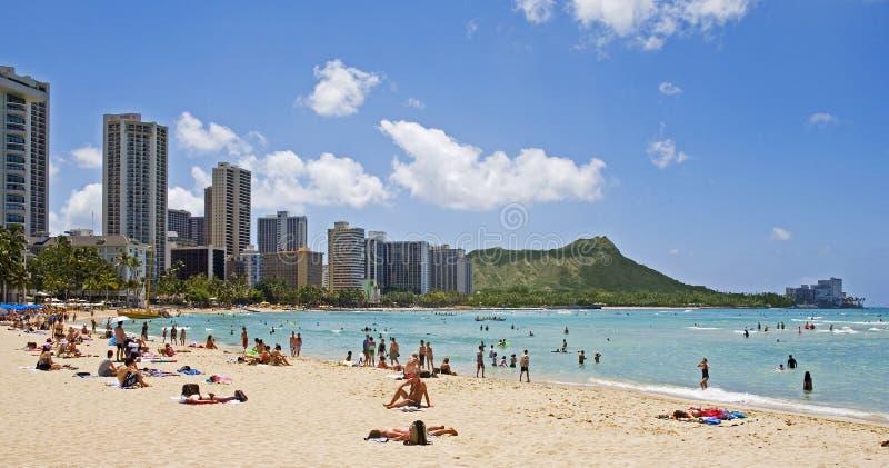 Plage de Waikiki, Oahu, Hawaï photographie stock libre de droits