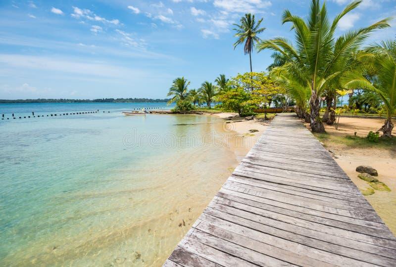 Plage des Caraïbes avec des palmiers sur des îles de Toro de del de Bocas au Panama photos stock
