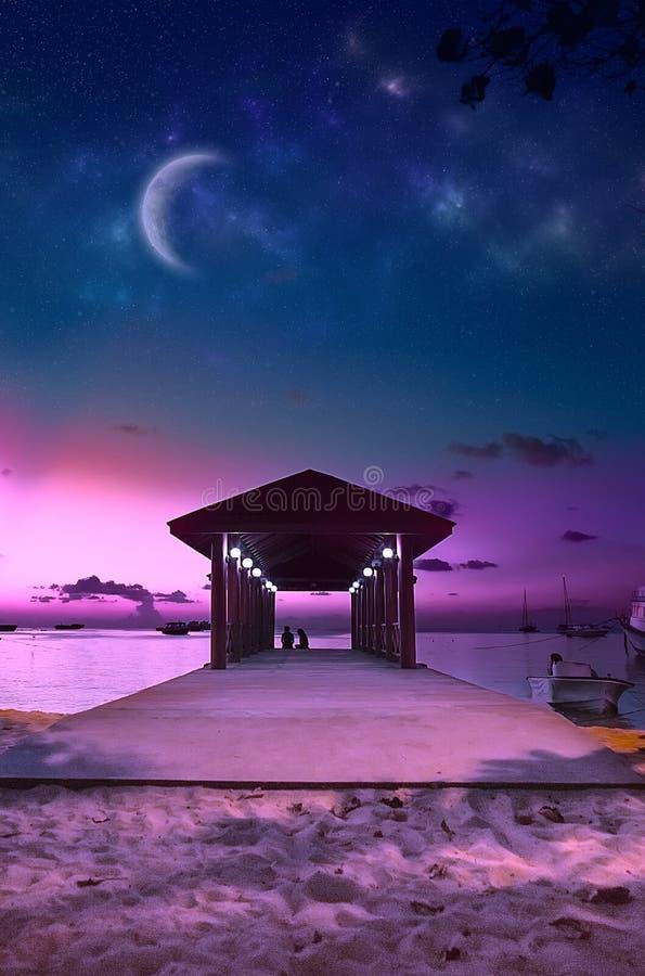 Plage des Maldives de paradis au coucher du soleil rose image stock