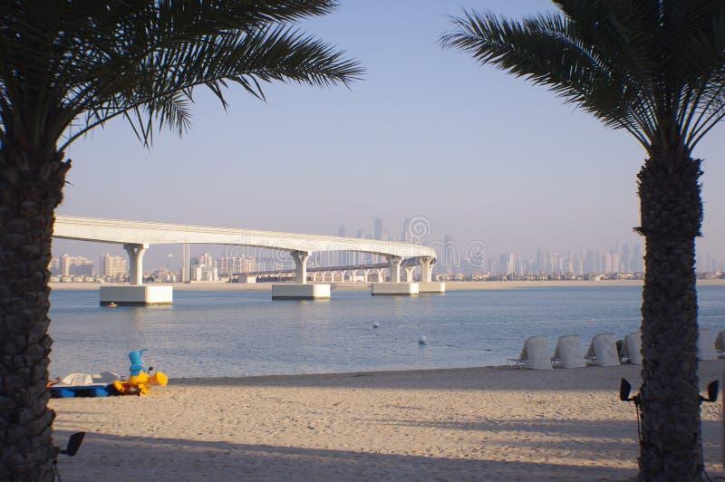 Plage, eau, palmiers, pont et ville photos libres de droits