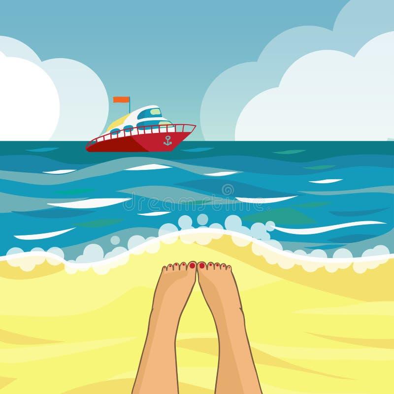 Plage et bateau illustration stock