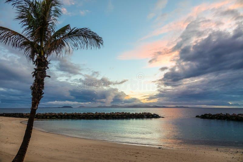 Plage et palmier dans le coucher du soleil photo stock