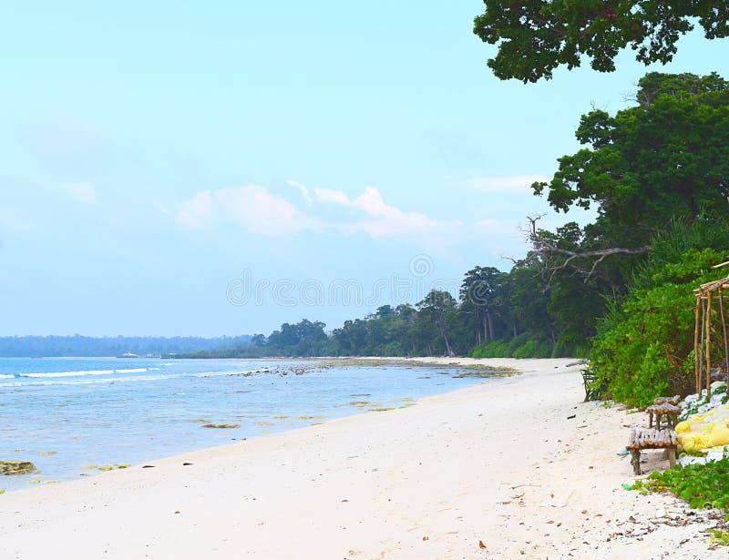 Plage fraîche et reculée avec la forêt littorale - Laxmanpur, Neil Island, Andaman Nicobar, Inde photos libres de droits