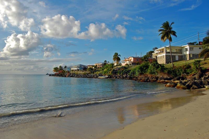 Plage grande d'Anse vers la fin d'après-midi photos libres de droits