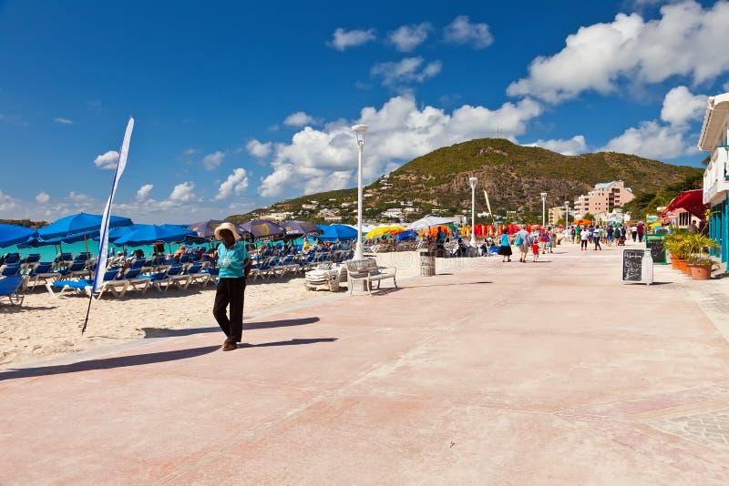 Plage grande de baie, St Maarten photos stock
