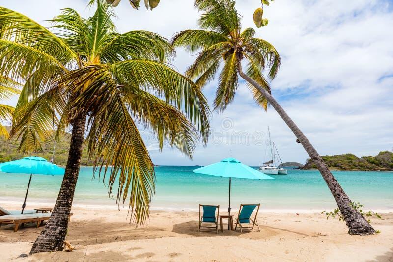 Plage idyllique chez les Caraïbe image libre de droits