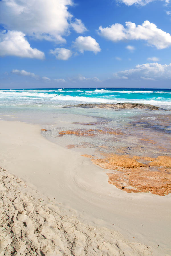 Plage Illetas Îles Baléares de Formentera Llevant photo stock