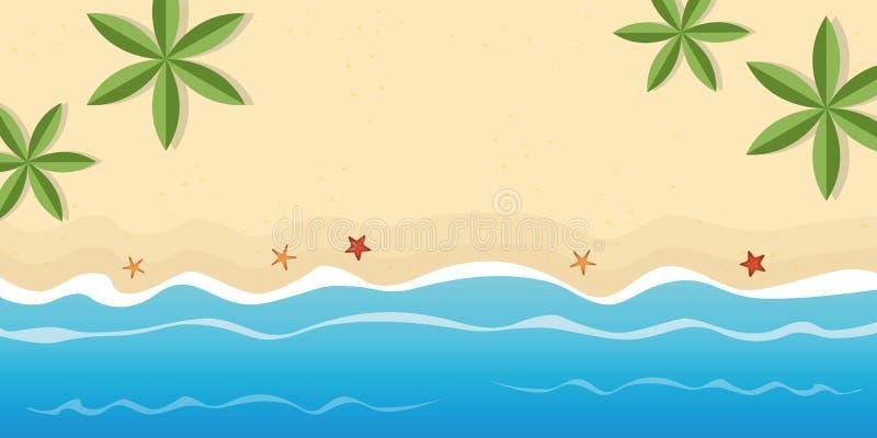 Plage isolée avec le fond de vacances d'été de palmiers et d'étoiles de mer avec l'espace de copie illustration de vecteur