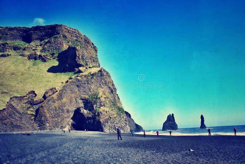 Plage noire Islande de sable photographie stock