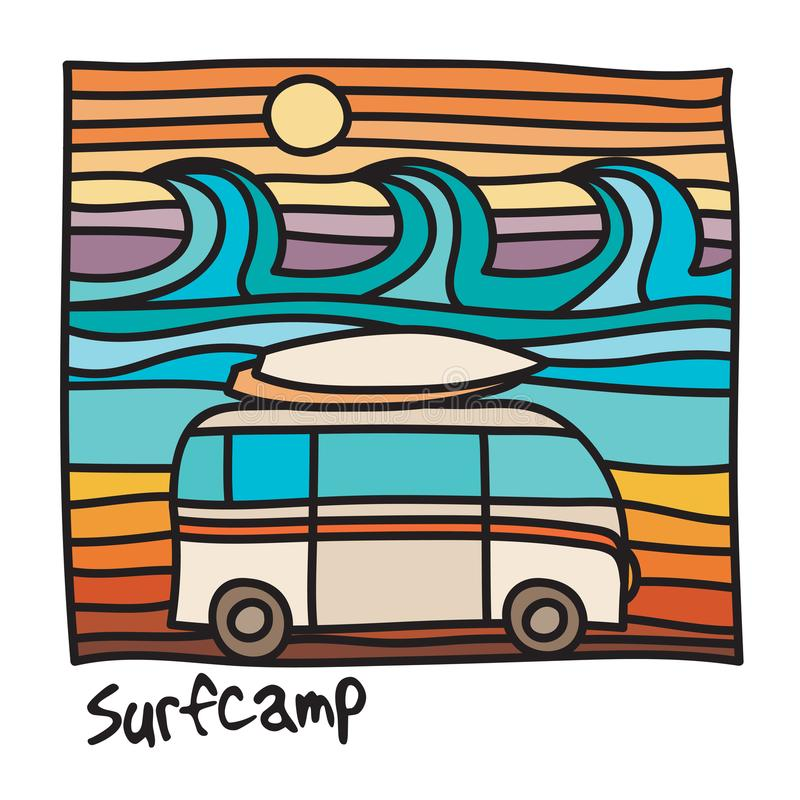 Plage océanique, affiche de surfer illustration libre de droits