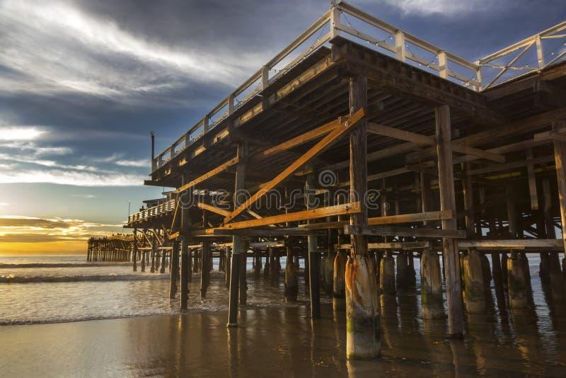 Plage Pacifique Pier Sunset Sky San Diego la Californie photo libre de droits
