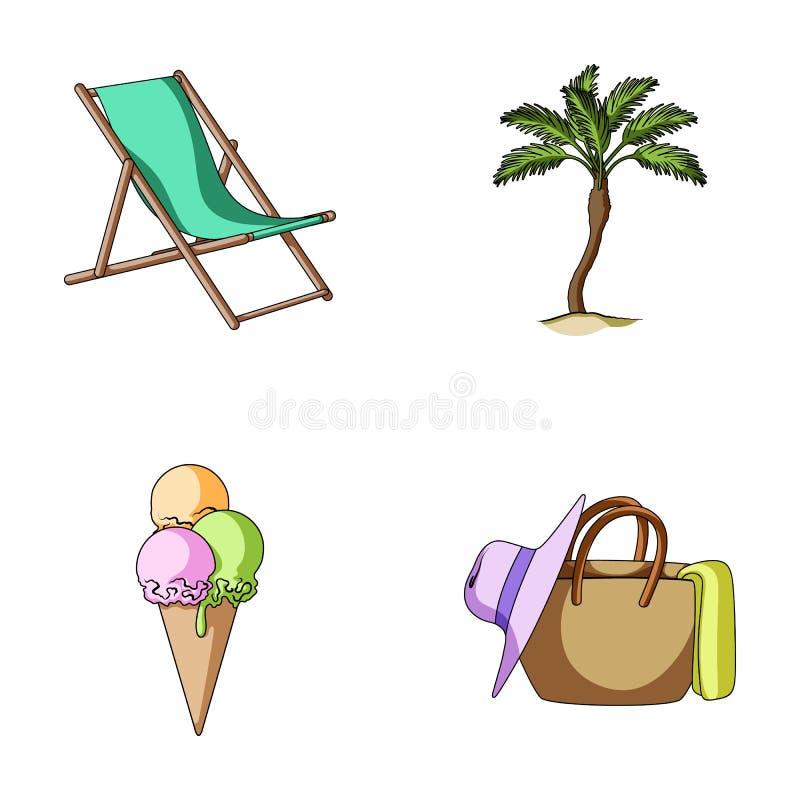Plage, palmier, crème glacée  Les icônes réglées de collection de vacances d'été dans le style de bande dessinée dirigent le Web  illustration stock
