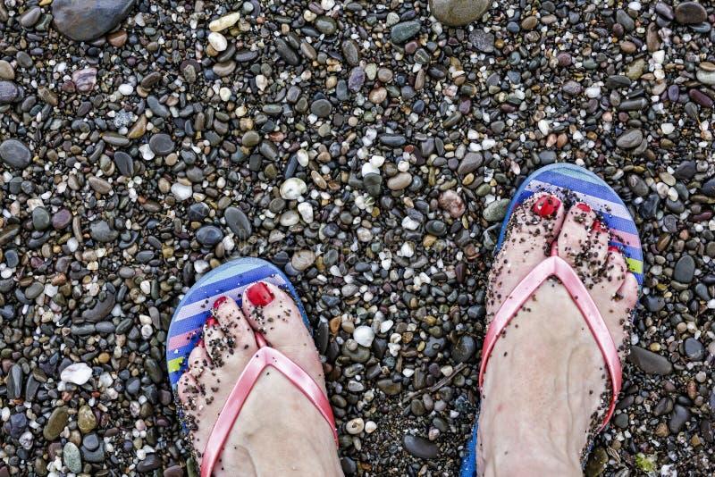 Plage, plan rapproché, femelle, pied, jambe, sable, mer, été, voyage, femme, océan, les gens, relaxation, l'eau, images stock