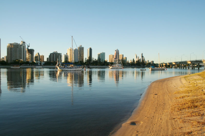 Plage principale Gold Coast images stock