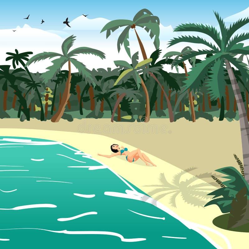 Plage privée tropicale d'été de paysage de mer illustration de vecteur
