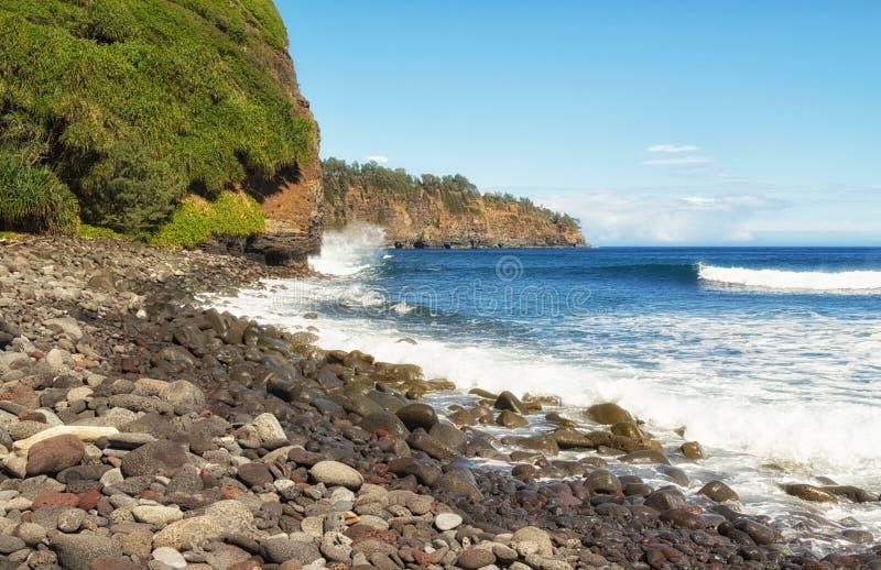 Plage rocheuse, ressac, et falaises d'Hawaï photos libres de droits