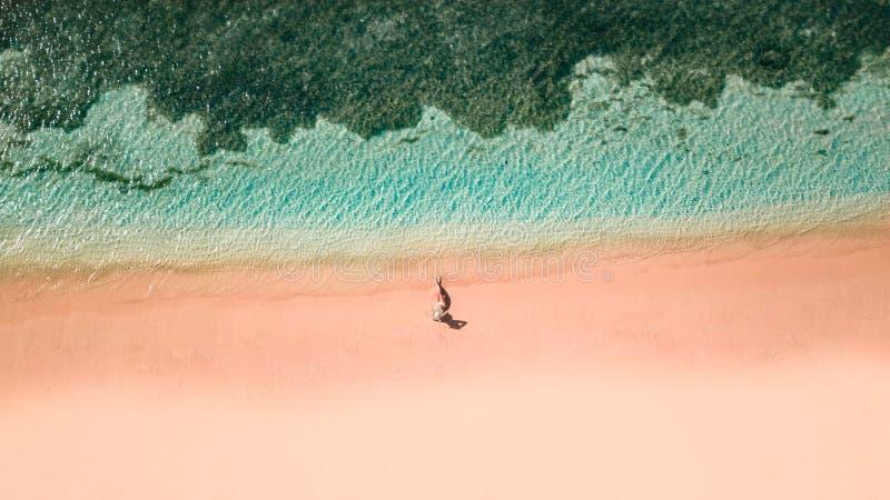Plage rose Lombok images libres de droits