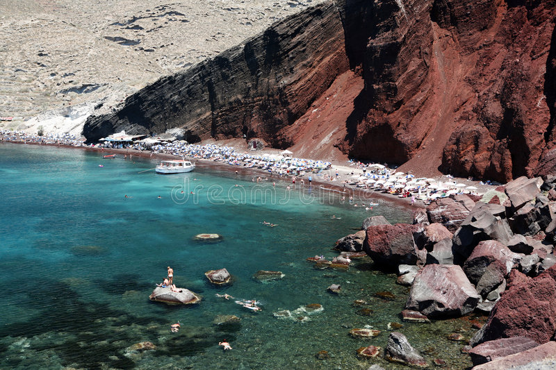 Plage rouge, Santorini images stock