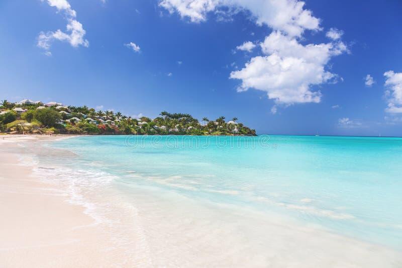 Plage sablonneuse blanche tropicale sur l'île carrebian de St Maarten photo stock