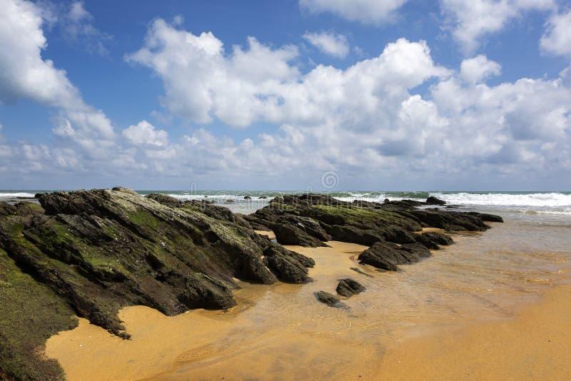 Plage sablonneuse tropicale au jour ensoleill? ciel bleu et eau de mer de torquise images stock
