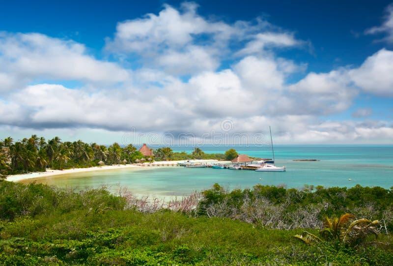 Plage sur l'Isla Contoy, Mexique images libres de droits