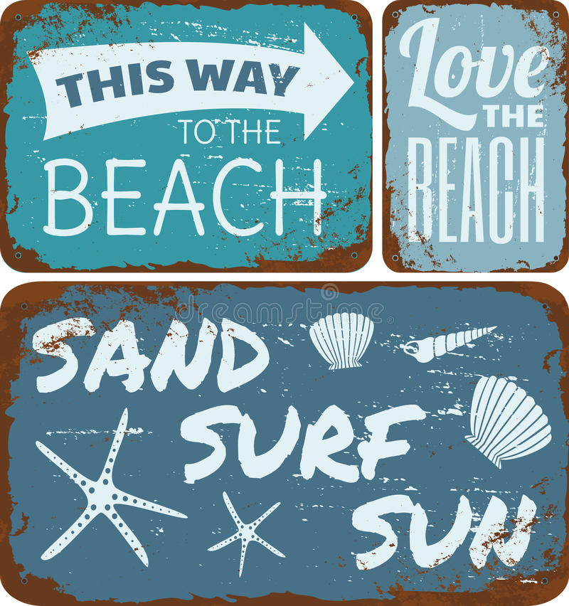 Plage Tin Signs Collection illustration de vecteur