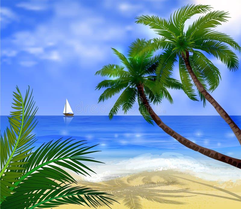 Plage tropicale illustration de vecteur