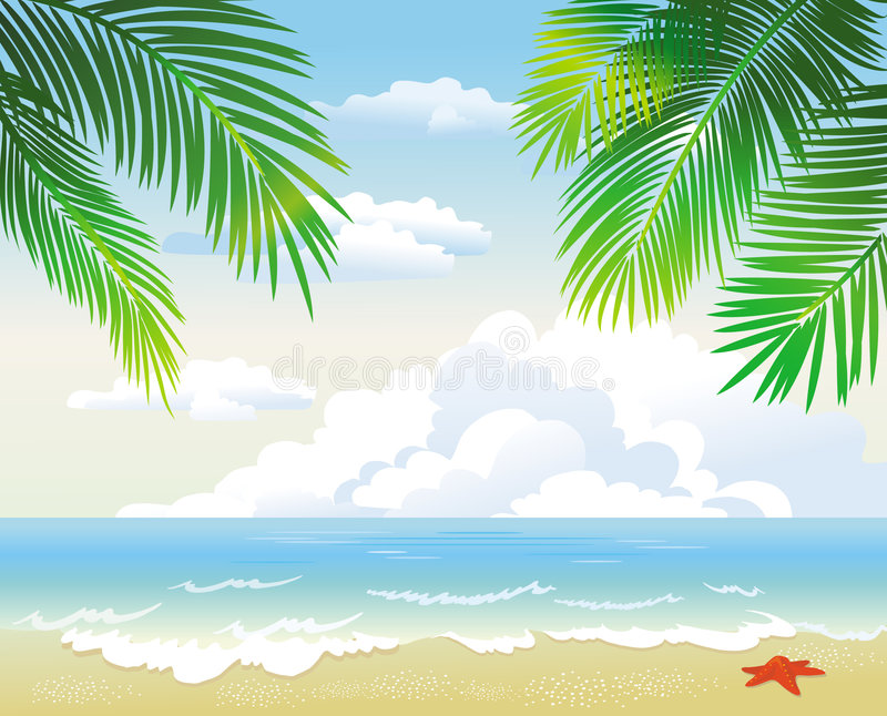 plage tropicale illustration de vecteur