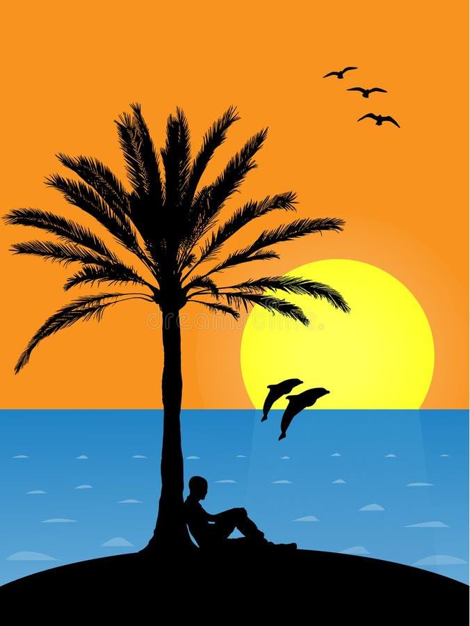 Plage tropicale au coucher du soleil illustration stock