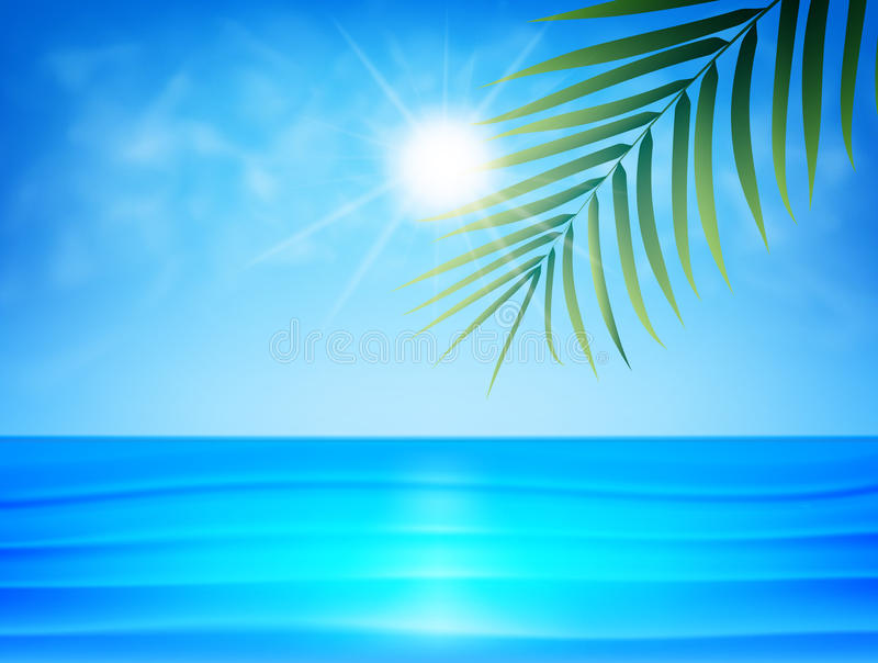 Plage tropicale avec la palmette, l'eau d'océan de smoot, les nuages et le soleil Fond exotique d'été illustration stock