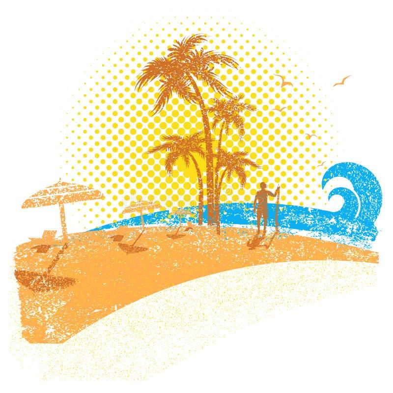 Plage tropicale avec le surfer Fond de paysage marin de vecteur sur le blanc illustration libre de droits