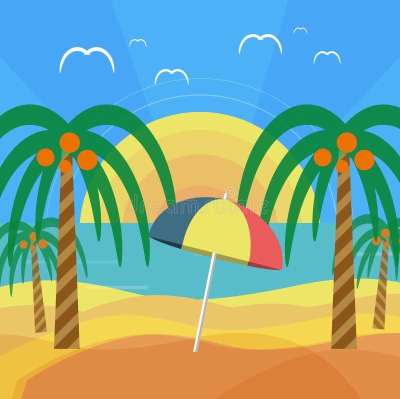 Plage tropicale avec les palmiers et le parapluie illustration de vecteur