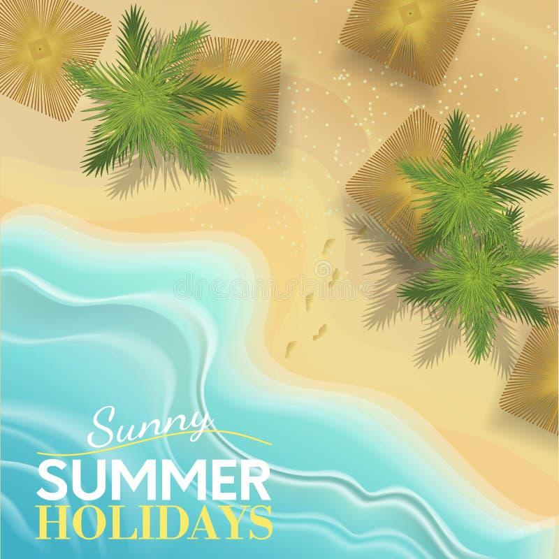 Plage tropicale Beau paysage ensoleillé avec palme et vague Empreintes dans le sable Blue Ocean pour votre design illustration de vecteur