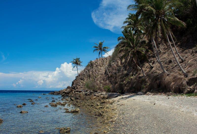 Plage tropicale d'île en soleil d'été Vacances à l'île tropicale images libres de droits