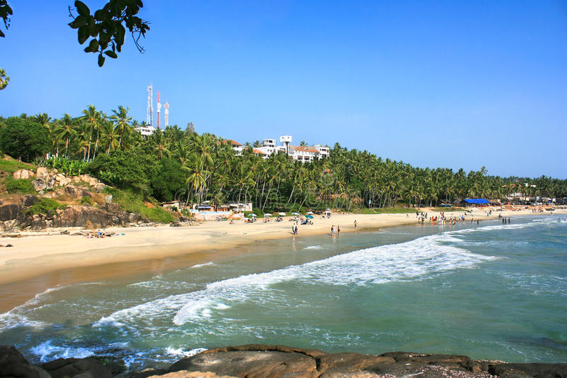 Plage tropicale dans Kovalam, Kerala, Inde photo stock