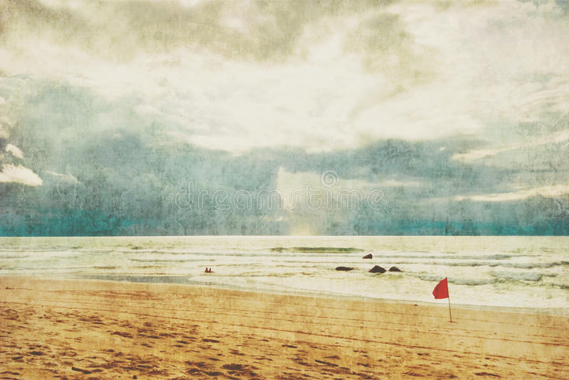 Plage tropicale exotique dans le rétro style photographie stock