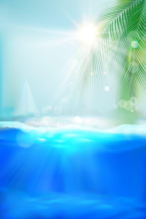 Plage tropicale vue sous-marine douce de couleurs bleues Illustration de vecteur illustration de vecteur