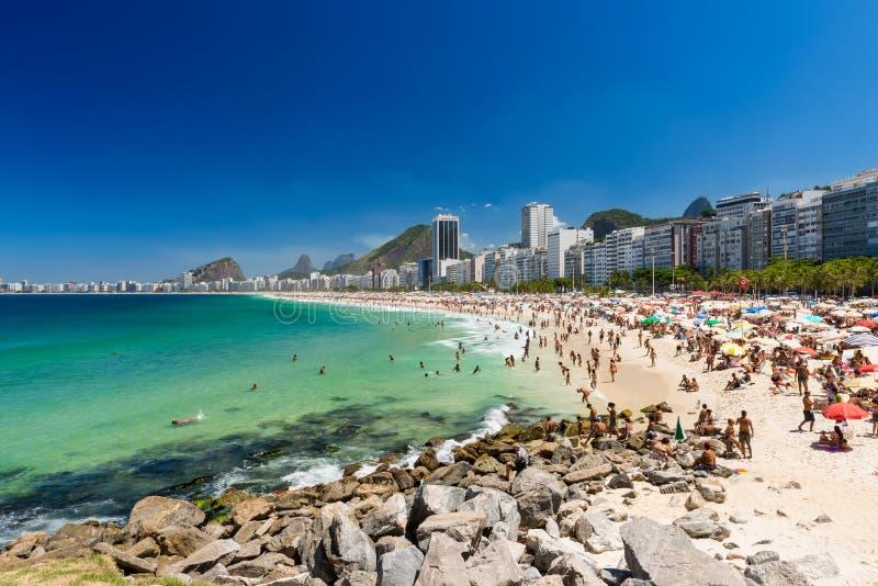 Plages de Copacabana et de Leme en Rio de Janeiro image libre de droits