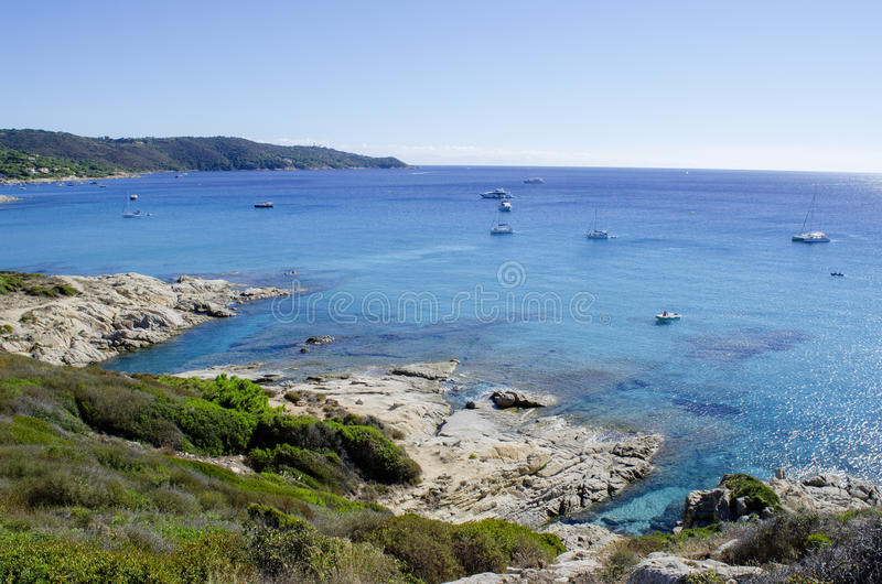 Plages de la Côte d'Azur, près de vers St Tropez image libre de droits