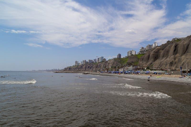 Plages, vue panoramique de Lima de Miraflores, Pérou photographie stock