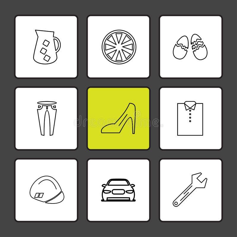 plagg torkdukar, kläder, klänningen, eps-symboler ställde in vektorn royaltyfri illustrationer