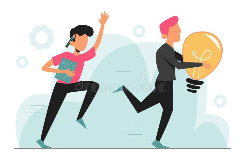 Plagiarism, man steal idea and run away vector isolated. Businessman with pencil run for the criminal in black with light bulb stock illustration
