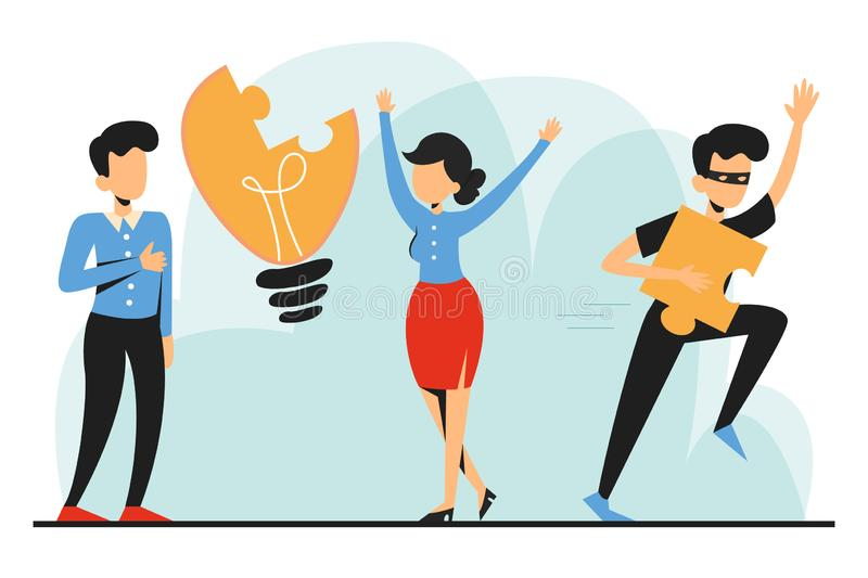 Plagiarism, man steal idea and run away vector isolated. Businessman with idea as light bulb and criminal in black with piece of invention royalty free illustration