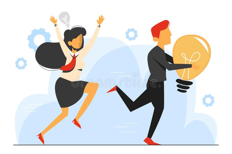 Plagiarism, man steal idea and run away vector isolated. Businesswoman run for the criminal in black with light bulb stock illustration