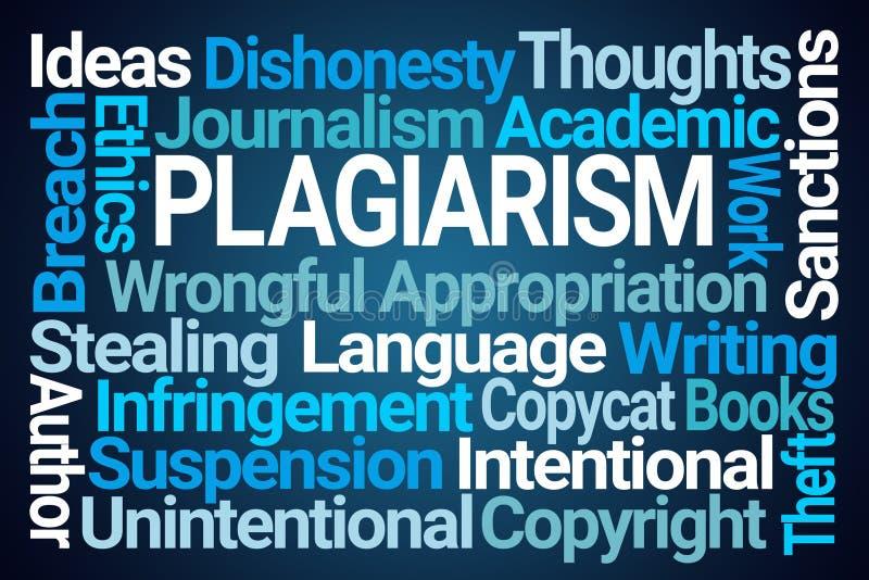Plagiarism Word Cloud. On Blue Background vector illustration