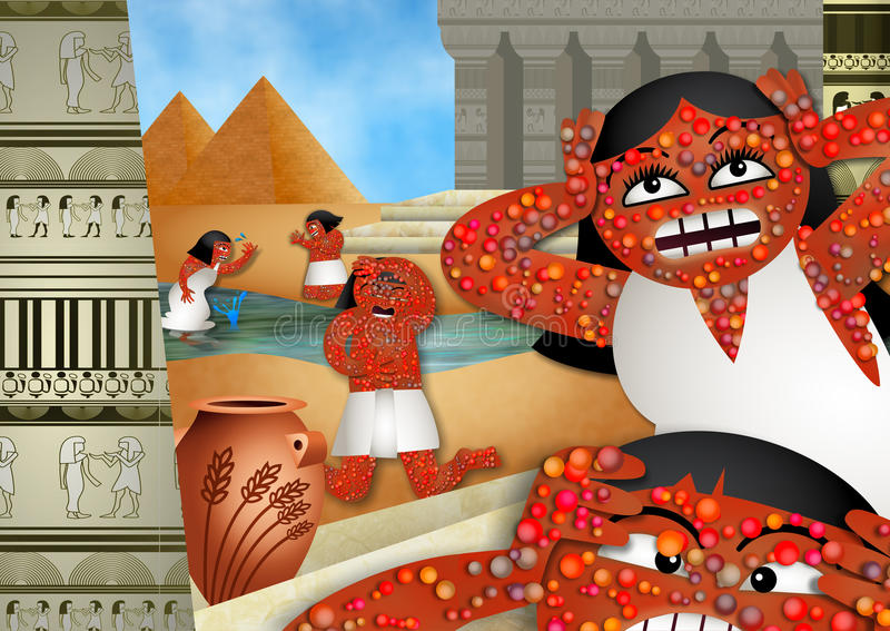 The Plague of Boils. A cartoon depiction of the biblical plague of boils in the book of Exodus vector illustration