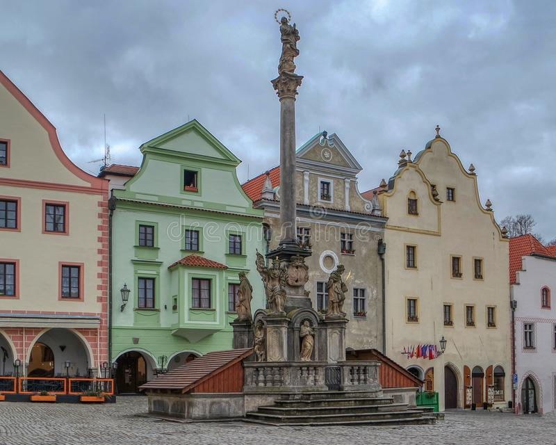 Plague Column at the main square of center in Cesky Krumlov, Czech Republic stock photos