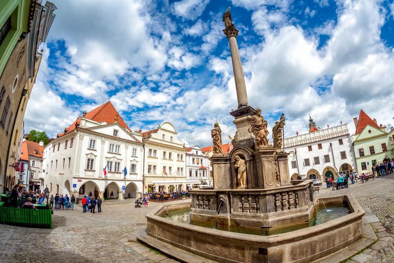 The Plague Column at the main square of Cesky Krumlov. Czech Rep stock image