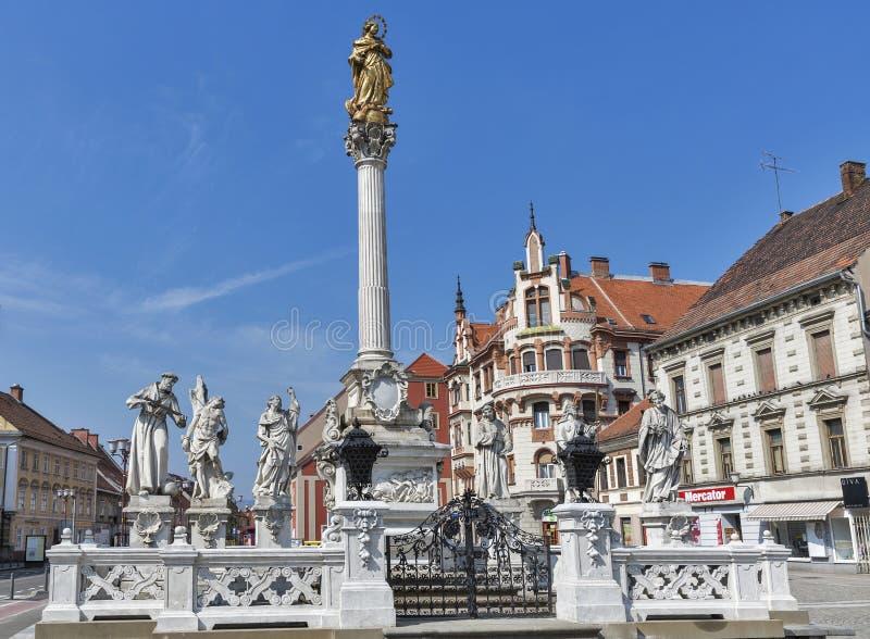 Plague Column in Maribor, Slovenia royalty free stock photo