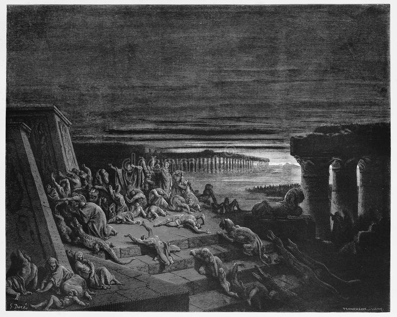 The plague of darkness strikes Egypt. Picture from The Holy Scriptures, Old and New Testaments books collection published in 1885, Stuttgart-Germany. Drawings